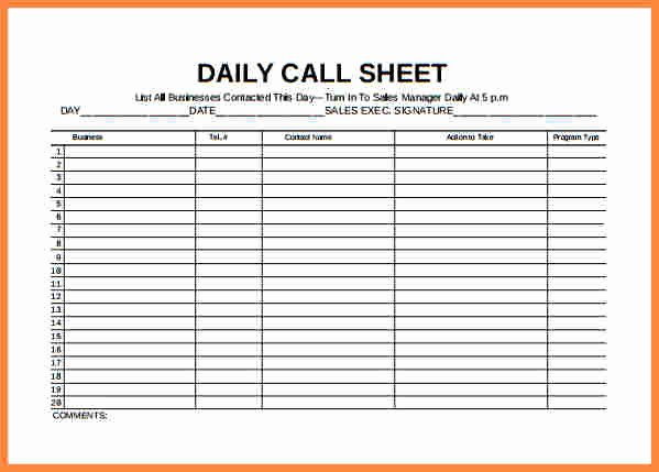 Call Log Template Excel Awesome Daily Planner Template Excel