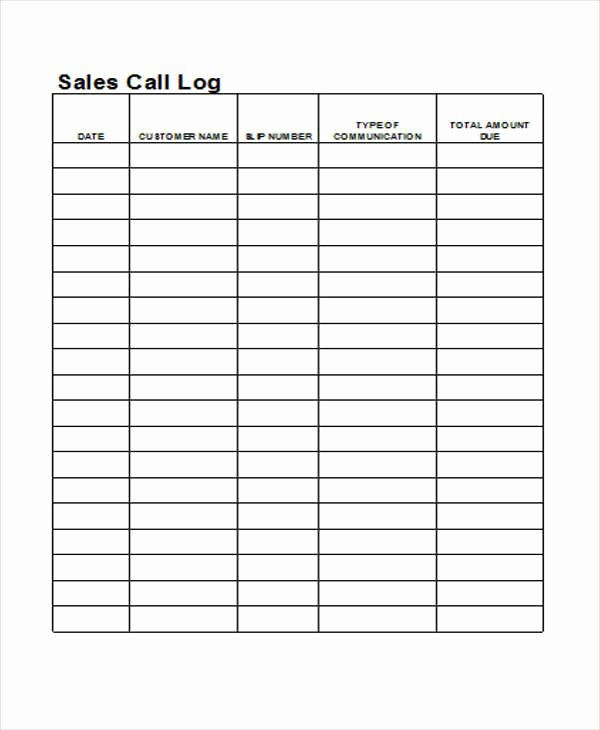 Call Log Template Excel Fresh 27 Log Templates In Excel