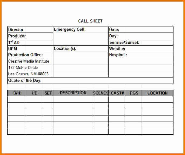 Call Sheet Template Excel Inspirational Call Sheet Template