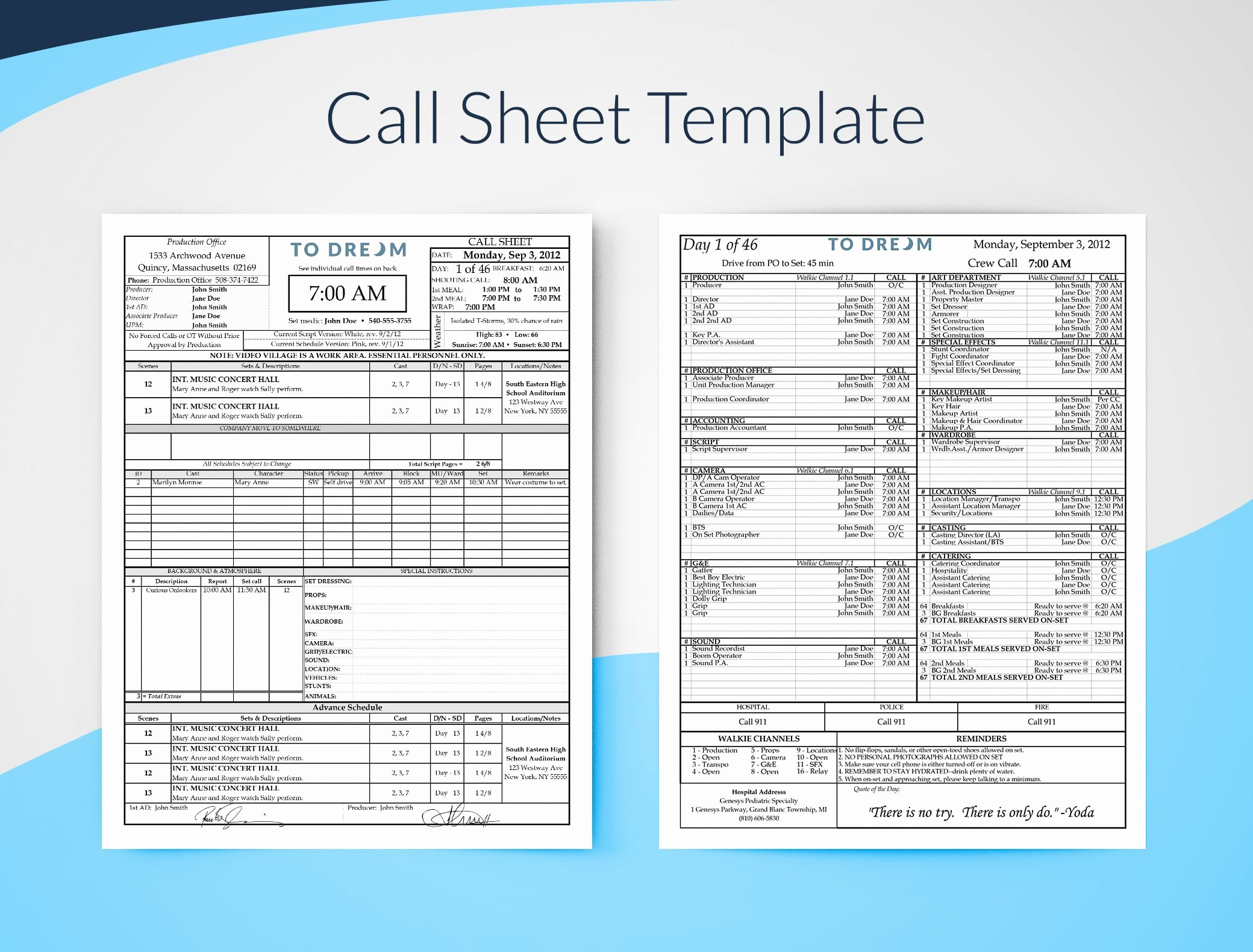 Call Sheet Template Excel Luxury Call Sheet Template for Excel Free Download