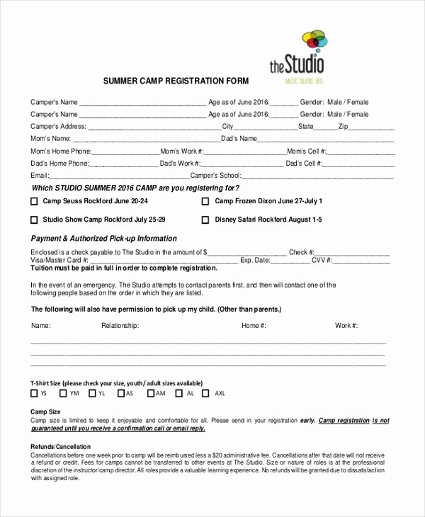 Camp Registration form Template Awesome Medical Registration form format Template