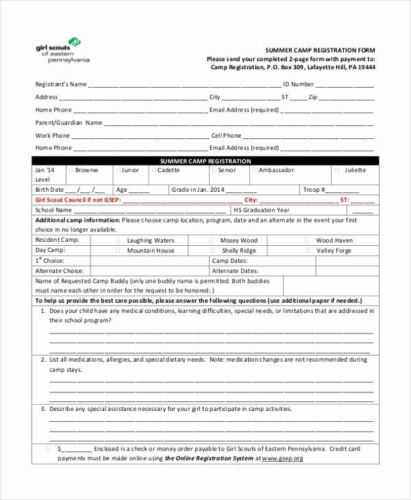 Camp Registration form Template Beautiful Great Summer Camp Registration form Template S Good