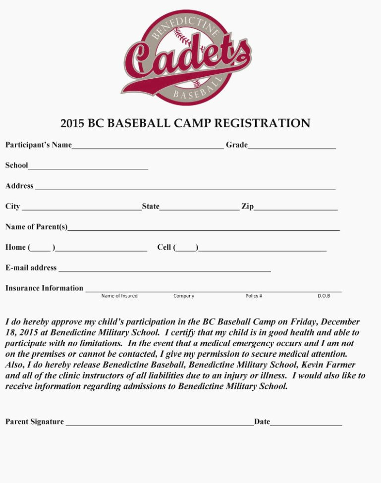 Camp Registration form Template Best Of Baseball Camp Registration form Template – Templates