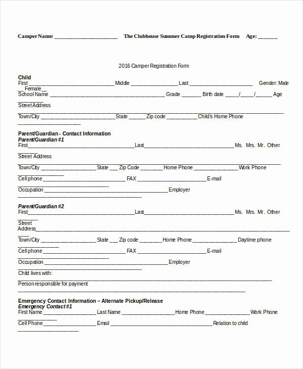 Camp Registration form Template Best Of Registration form Template 9 Free Pdf Word Documents