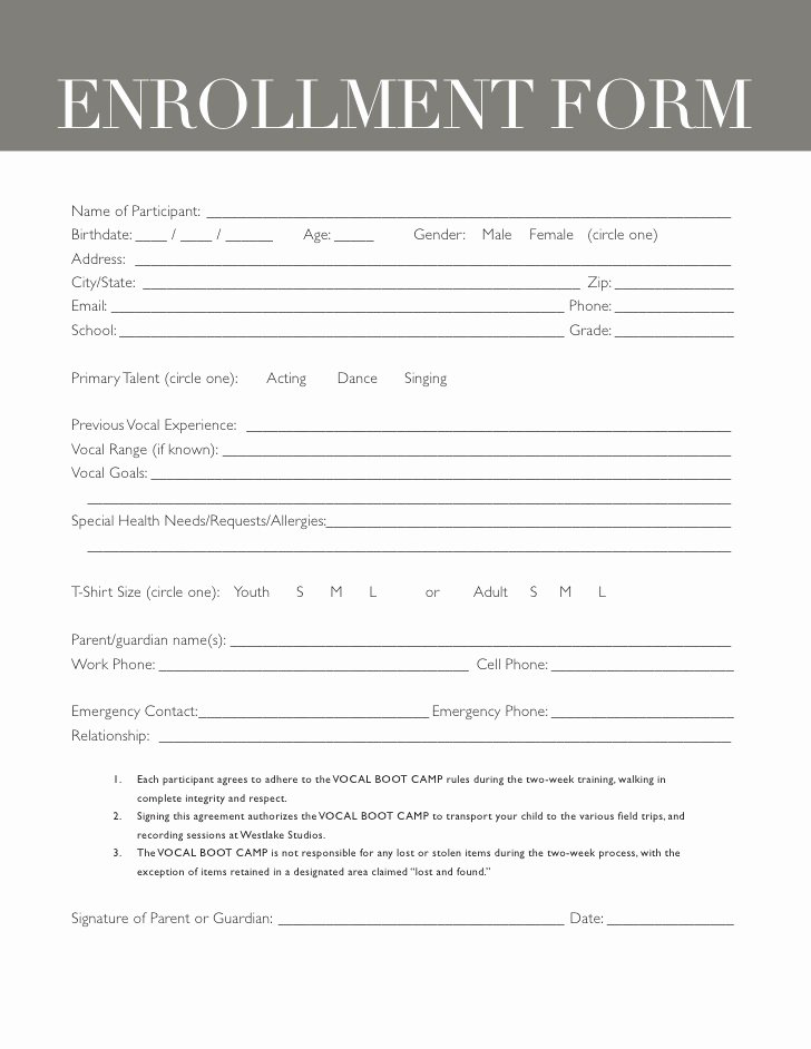 Camp Registration form Template Inspirational Boot Camp Registration form Template Templates Resume