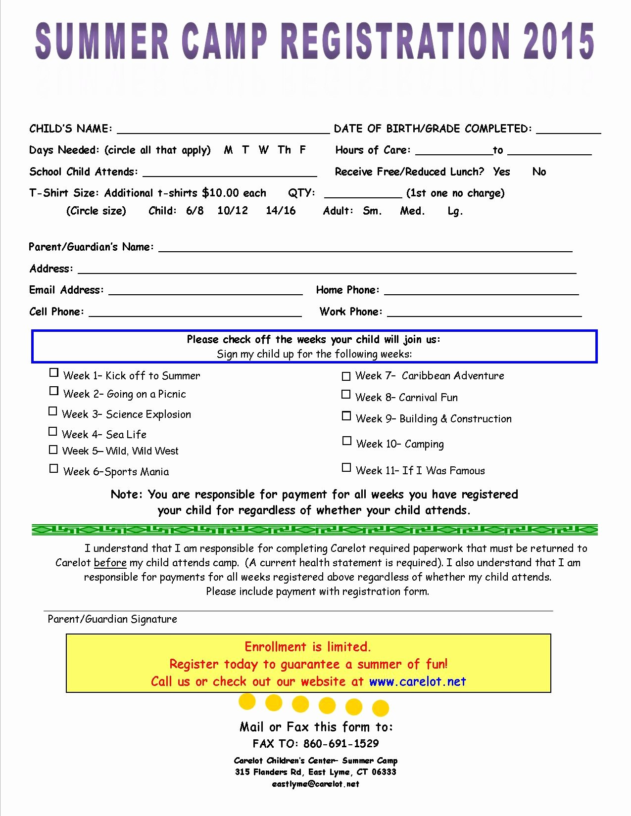 Camp Registration form Template Inspirational Youth Day Program Templates 2015