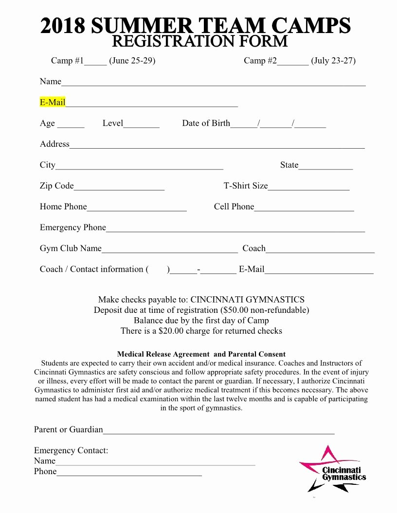 Camp Registration form Template Lovely 2018 Summer Team Camps Registration form Cincinnati