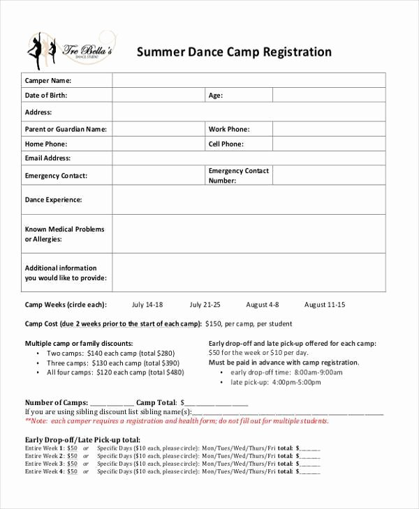 Camp Registration form Template Lovely Dance School Registration form Template Free 10 Summer