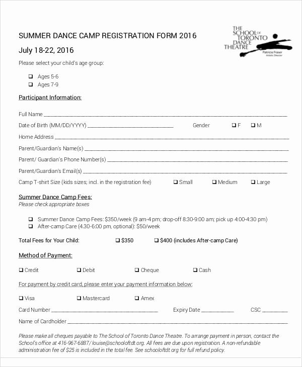 Camp Registration form Template Lovely Registration forms In Pdf