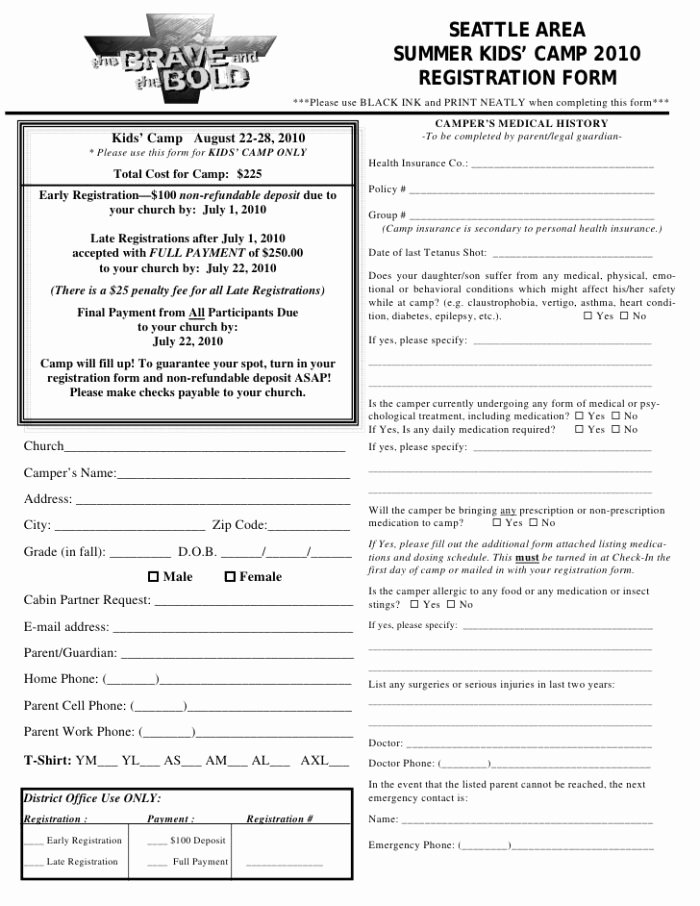 boot camp registration form template
