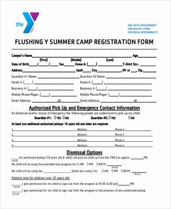 Camp Registration form Template Luxury Sample Summer Camp Registration form 10 Free Documents