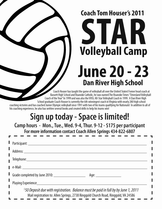 Camp Registration form Template Luxury Star Volleyball Camp at Dan River High Ringgold Virginia