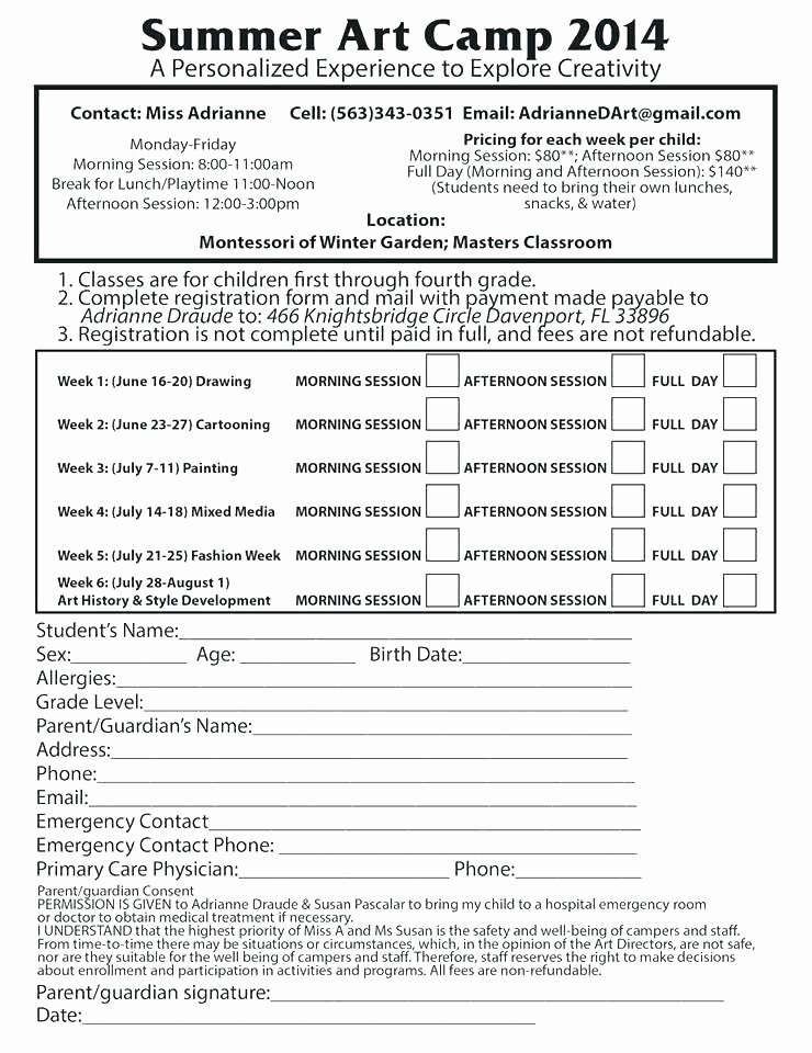 Camp Registration form Template Unique Example Free Summer Camp Registration form Template