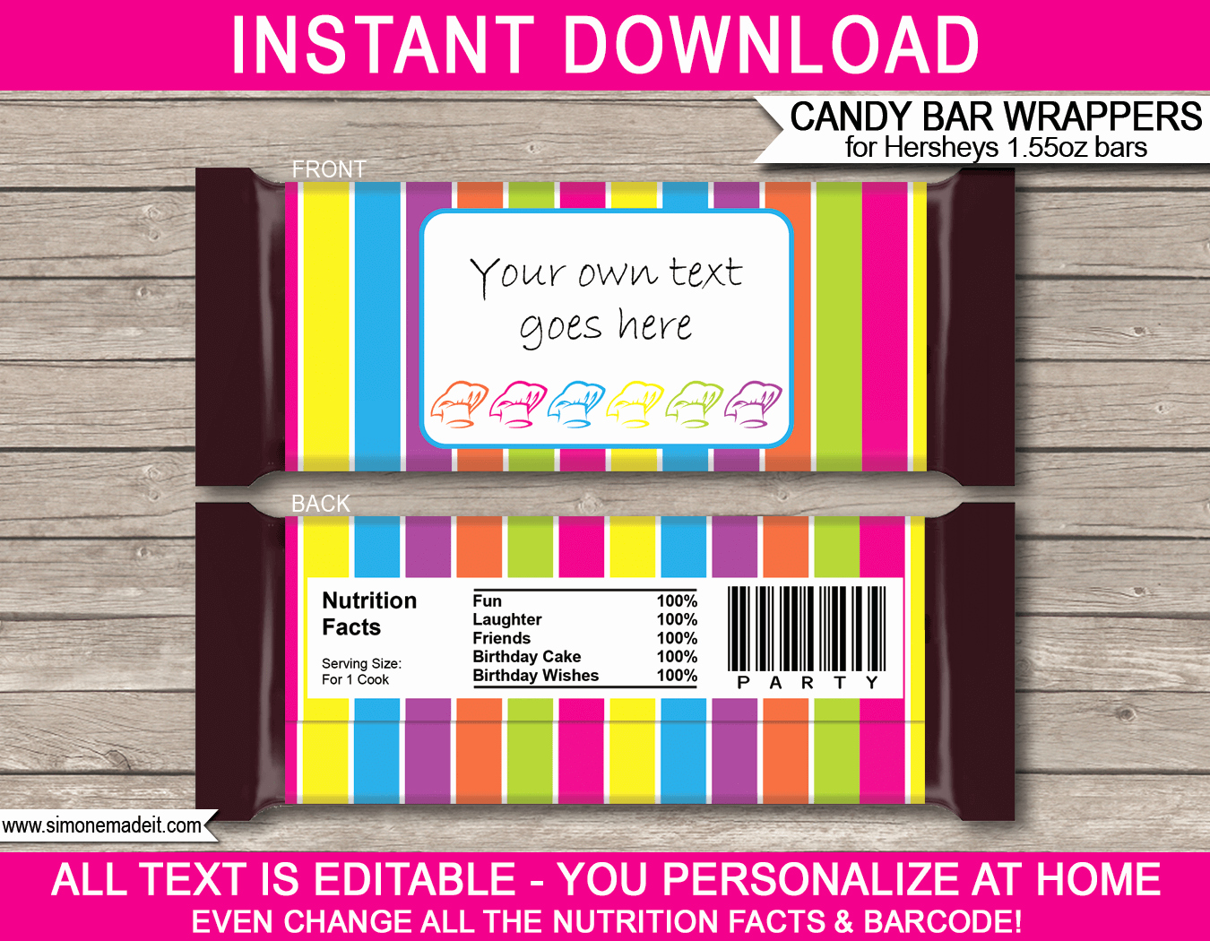 Candy Bar Label Template Elegant Baking or Cooking Party Hershey Candy Bar Wrappers