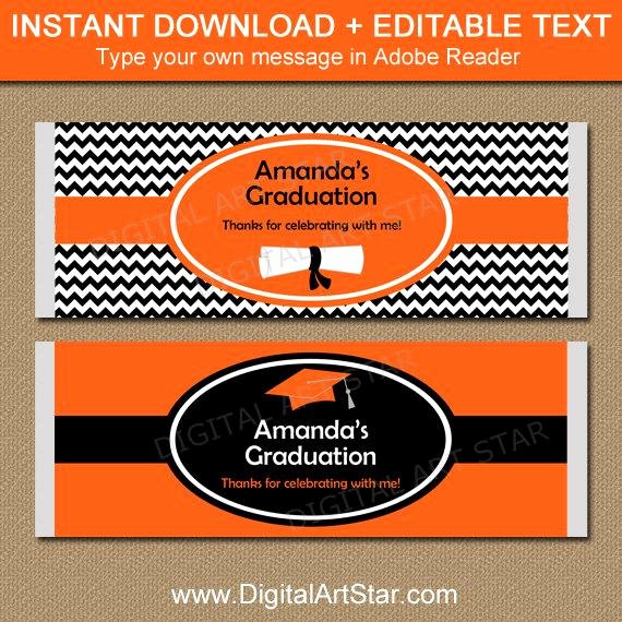 Candy Bar Label Template Unique Printable Graduation Chocolate Bar Wrapper High School