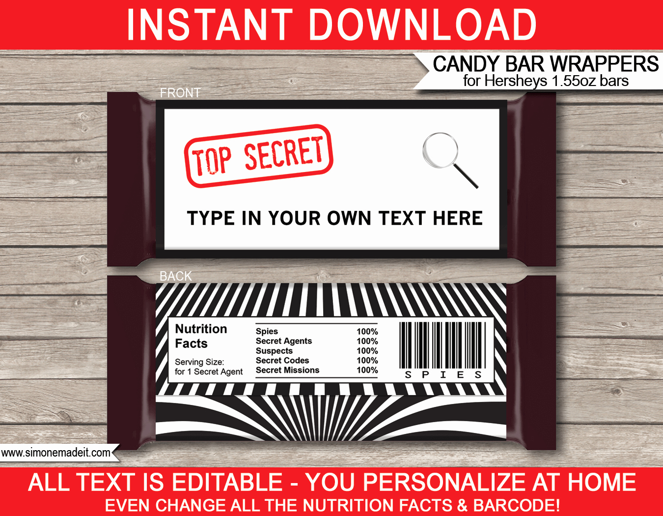 Candy Bar Label Template Unique Spy or Secret Agent Hershey Candy Bar Wrappers
