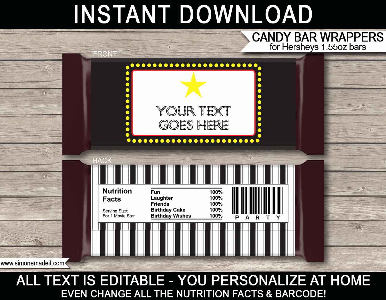 Candy Bar Wrapper Template Awesome Movie Hershey Candy Bar Wrappers