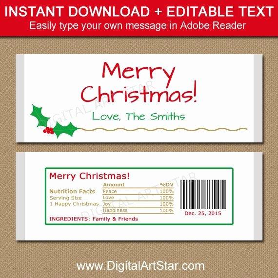 Candy Bar Wrapper Template Elegant Christmas Candy Bar Wrapper Template Printable Holiday