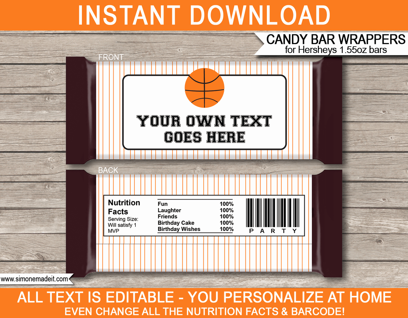 Candy Bar Wrapper Template Lovely Basketball Hershey Candy Bar Wrappers