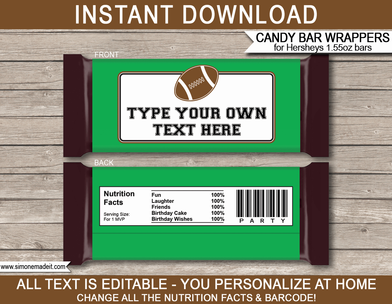 Candy Bar Wrapper Template Unique Football Hershey Candy Bar Wrappers