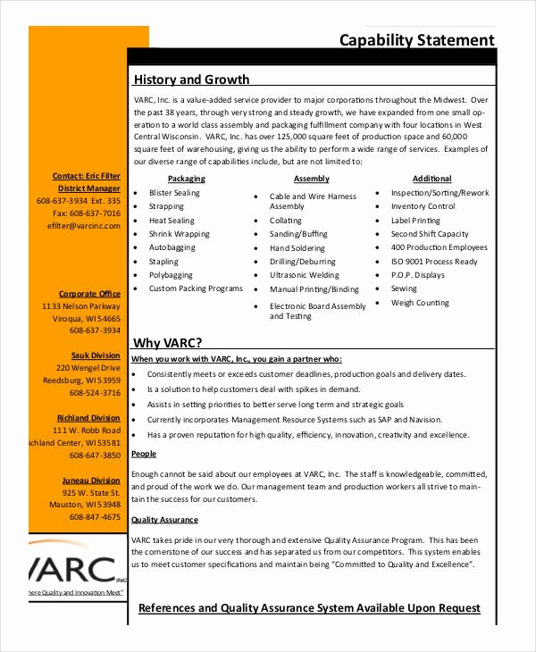 Capability Statement Template Doc Awesome 8 Capability Statement Examples Samples