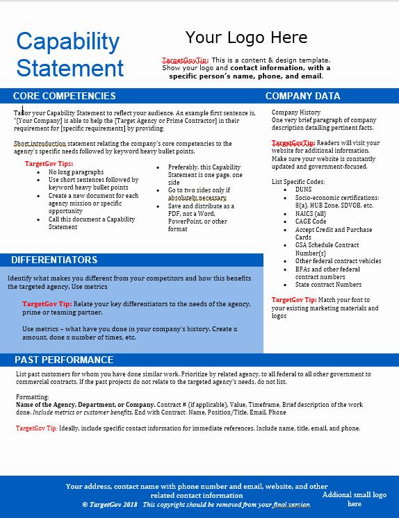 Capability Statement Template Doc Beautiful Capability Statement Editable Template Blue Tar Gov