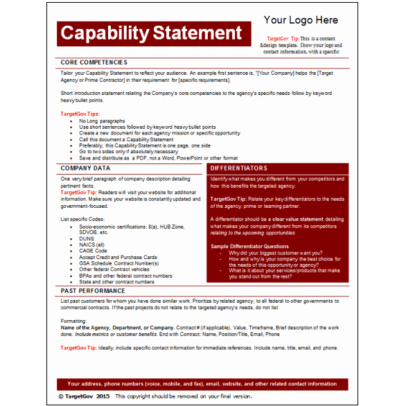 Capability Statement Template Doc Inspirational Capability Statement Editable Template Tar Gov