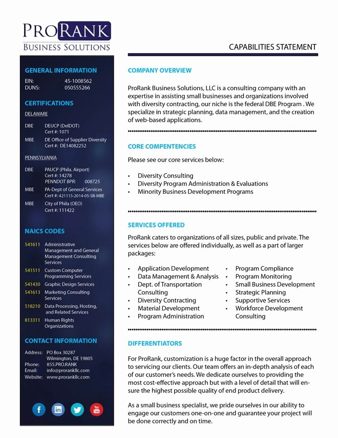 Capability Statement Template Doc Unique 8 Best Capabilities Sta Images On Pinterest