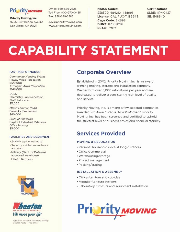 Capability Statement Template Free Awesome 8 Best Capabilities Sta Images On Pinterest