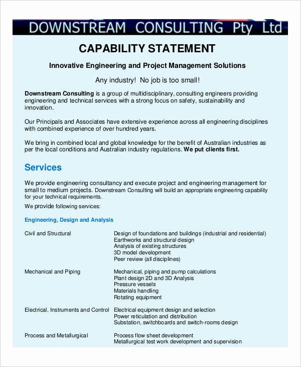 Capability Statement Template Free Awesome 8 Capability Statement Examples Samples