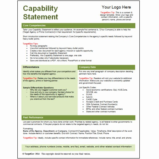 Capability Statement Template Free Beautiful Capability Statement Editable Template Green Tar Gov