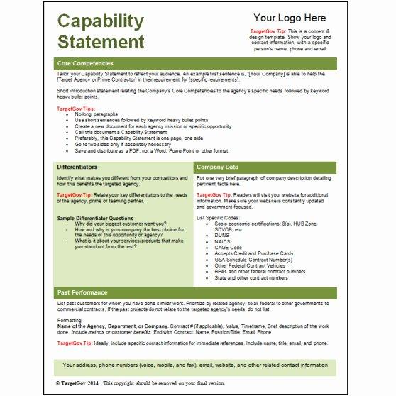 Capability Statement Template Free Beautiful Capability Statement Editable Template Green Tar Gov
