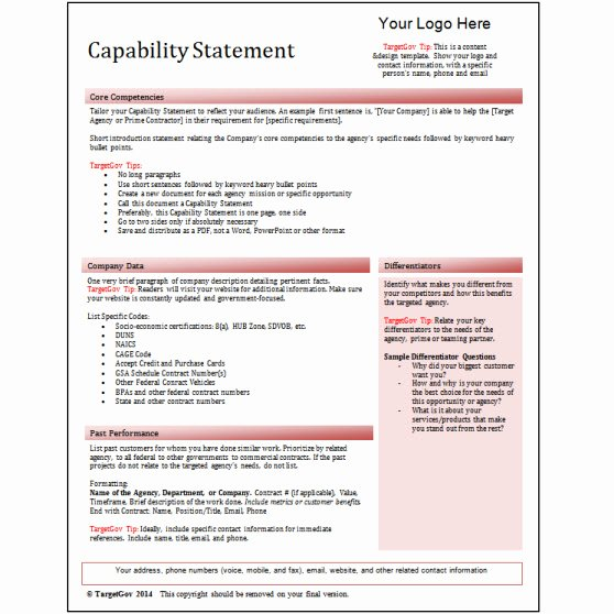 Capability Statement Template Free Best Of Capability Statement Editable Template Red Tar Gov