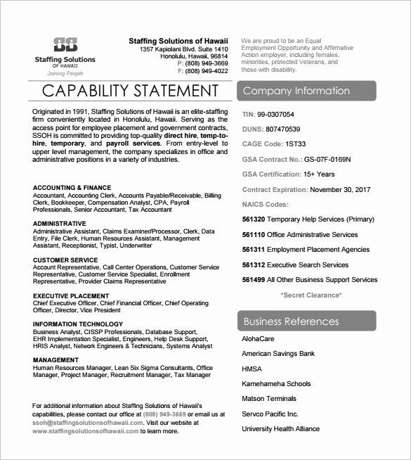 Capability Statement Template Free Elegant 15 Capability Statement Templates – Pdf Word Pages