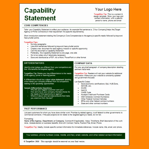 Capability Statement Template Free Elegant 5 Capability Statement Template Word
