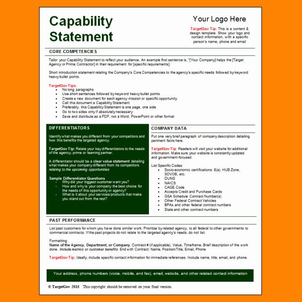 Capability Statement Template Free Elegant 5 Capability Statement Template Word