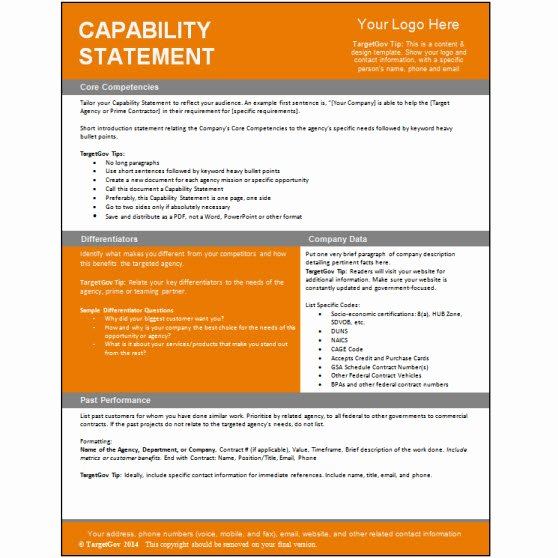 Capability Statement Template Free Fresh Capability Statement Editable Template Tar Gov
