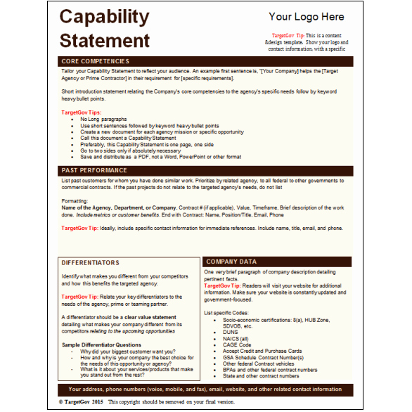 Capability Statement Template Free Inspirational Capability Statement for Federal Related Keywords
