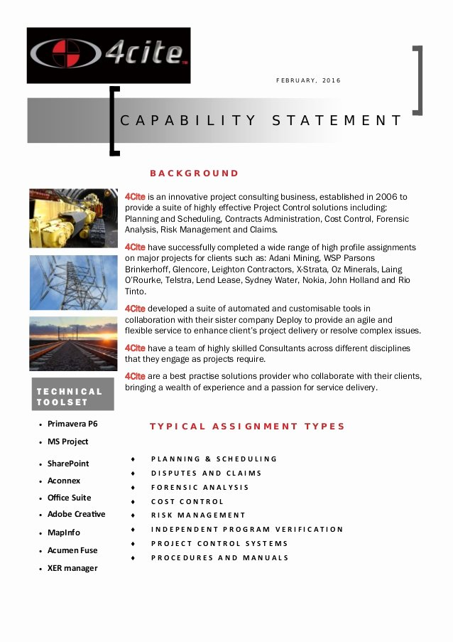 Capability Statement Template Free Luxury 4cite Capability Statement Pdf