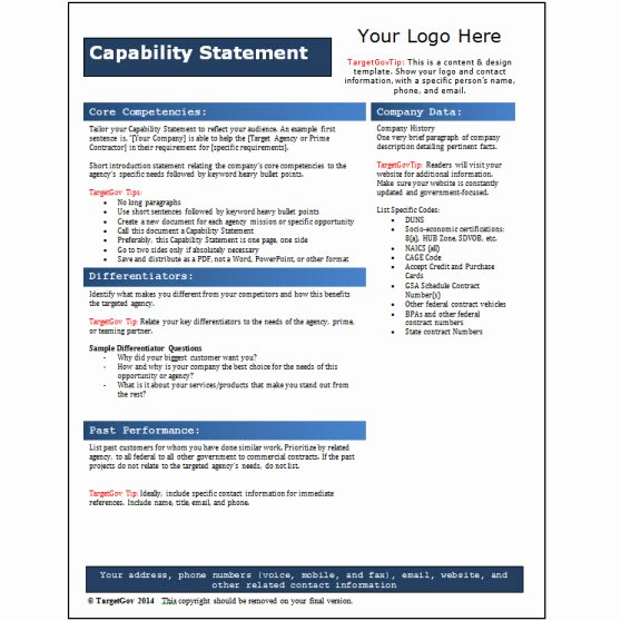 Capability Statement Template Free Luxury Capability Statement Editable Template Blue Tar Gov