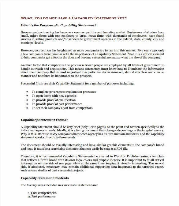 Capability Statement Template Free New 15 Capability Statement Templates – Pdf Word Pages
