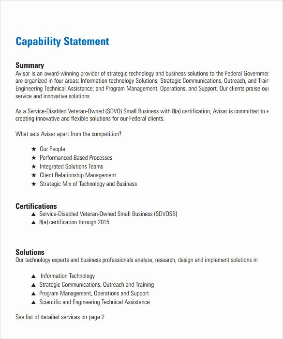 Capability Statement Template Word Fresh Sample Capability Statement Templates – 14 Documents In