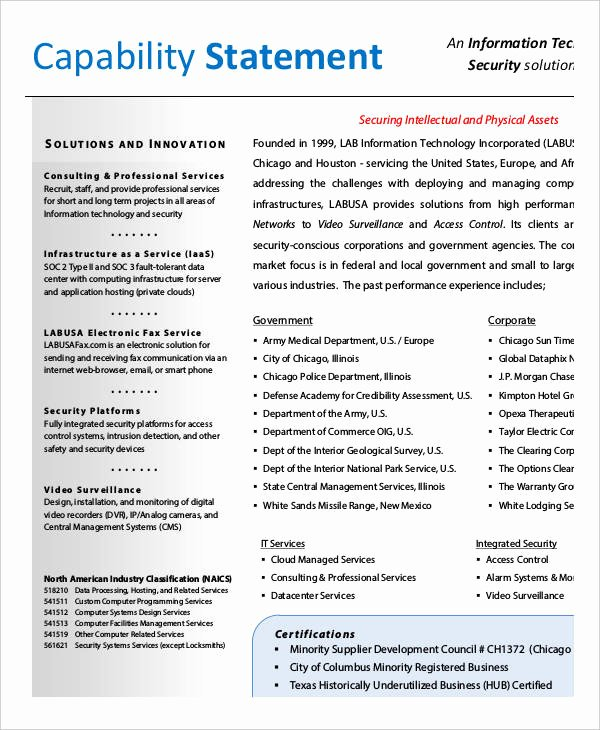 Capability Statement Template Word Lovely Capability Statement Template 12 Free Pdf Word
