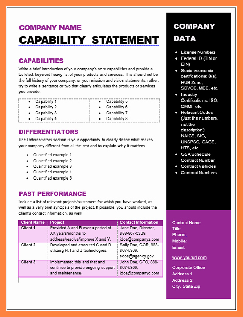 Capability Statement Template Word New 5 Capability Statement Template Word