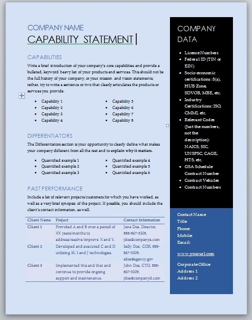 =free capability statement template blue and black microsoft word