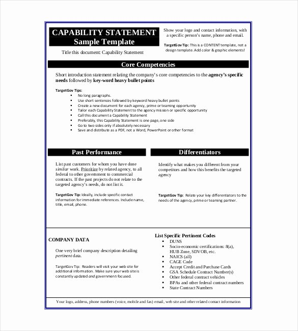 Capability Statement Template Word Unique Statement Templates – 30 Free Word Excel Pdf Indesign