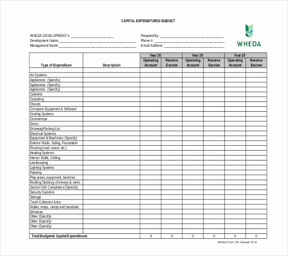 Capital Budget Template Excel Fresh 6 Capital Expenditure Bud Templates Doc Pdf Excel
