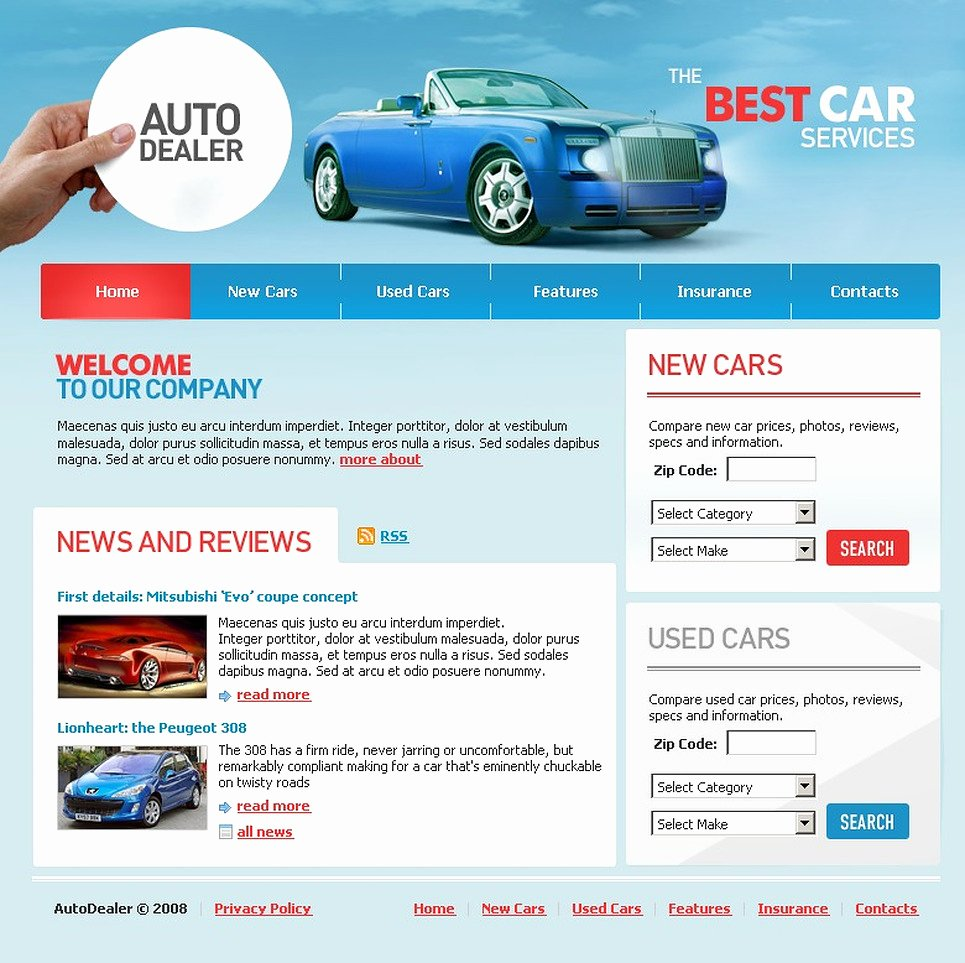 Car Dealer Website Template Luxury Car Dealer Website Template