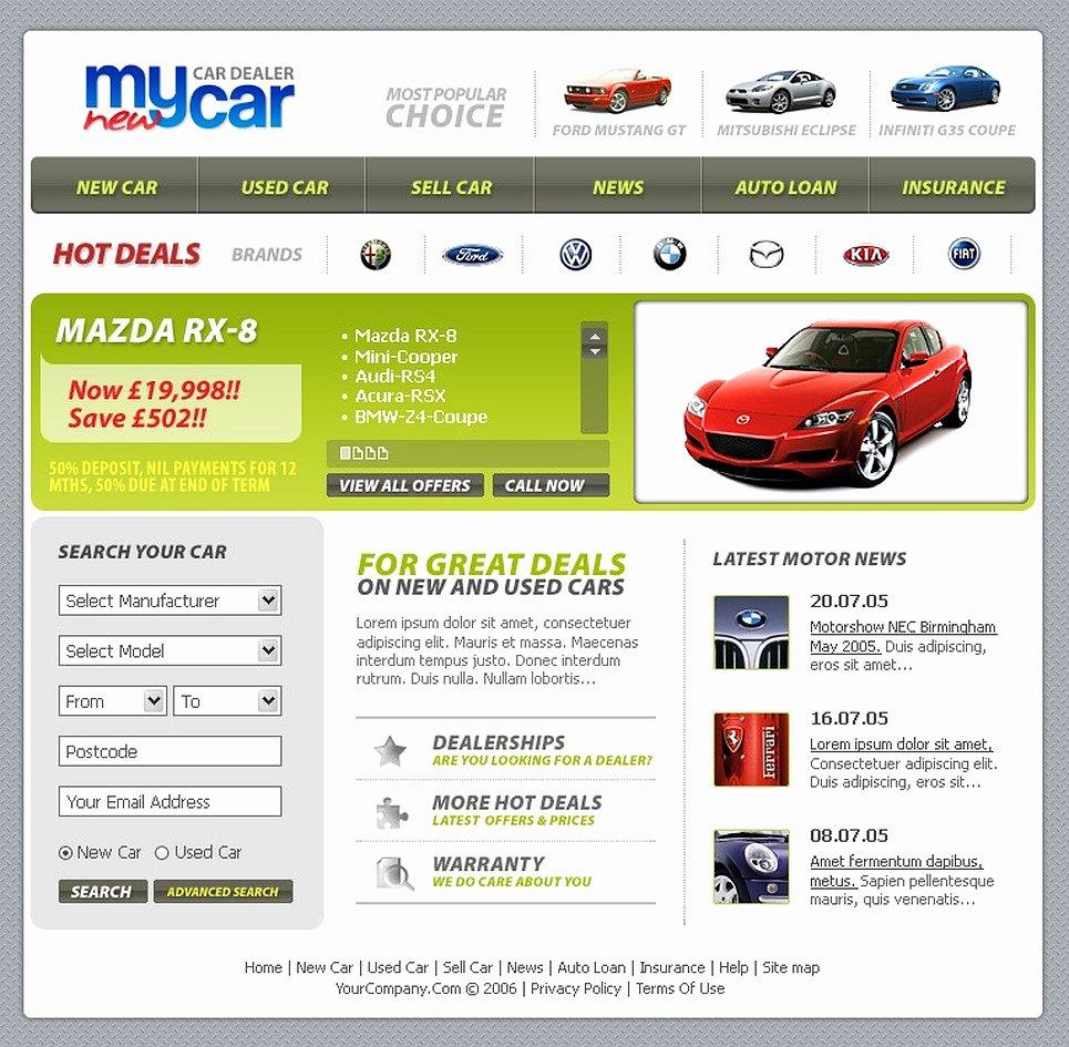 Car Dealer Website Template New Car Dealer Website Template