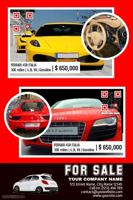 Car for Sale Template Beautiful Car for Sale Template Made for Two Car Listings Red